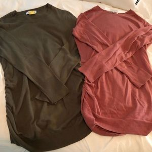 Tops - Maternity side rouched tunic sweaters